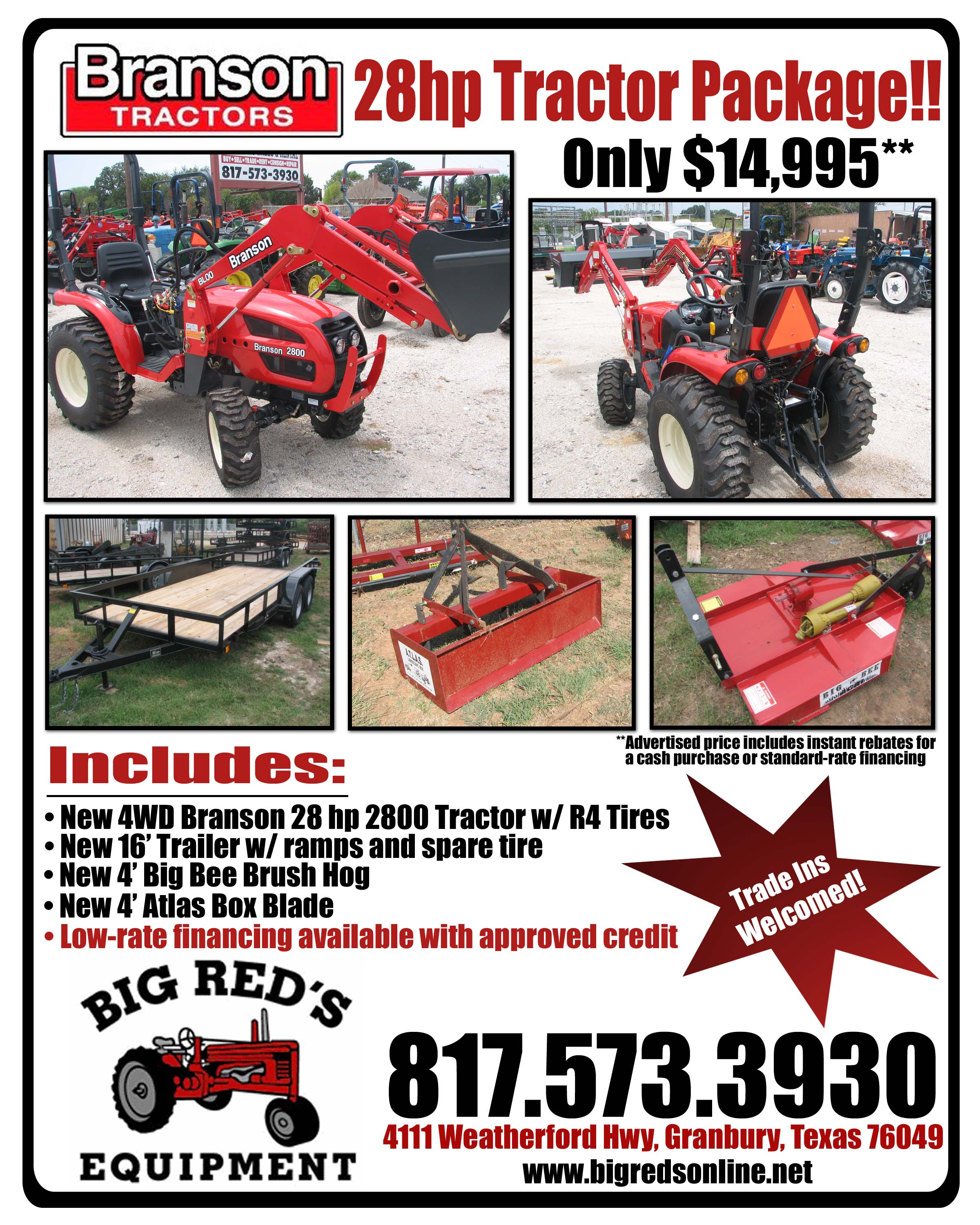 2013 Branson 2800 28hp Tractor Package Deal Near Fort