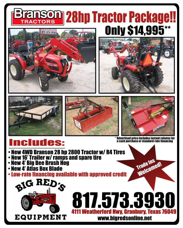 2013 Branson 2800 28hp Tractor Package Deal Near Fort Worth, TX
